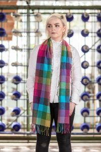 6 Color Check Shannon Blue Scarf