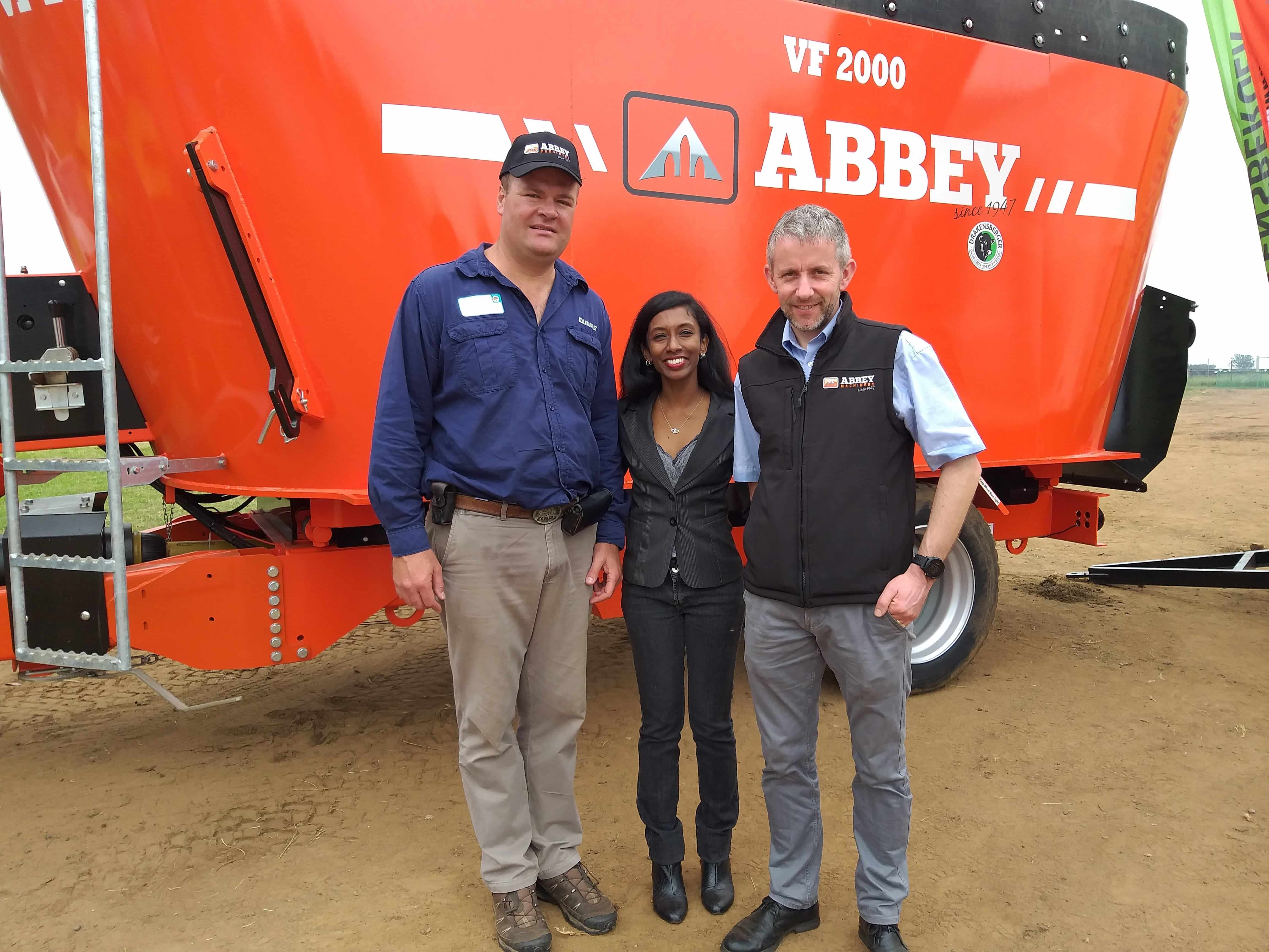 Nico von Wielligh (South African dealer), Ureshnie Govender (Enterprise Ireland) and Micheal O'Grady (Abbey Machinery).